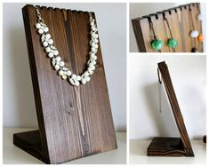Necklace Display Board Dark Walnut & Oak by TheWoodshopsDaughter
