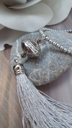 Long beaded  necklace with silver tassel. Glass pearl beaded tassel necklace. Silver beaded tassel necklace.Silver tassel necklace.