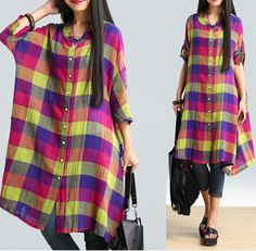 Women cotton linen loose fitting summer shirt - Tkdress  - 1