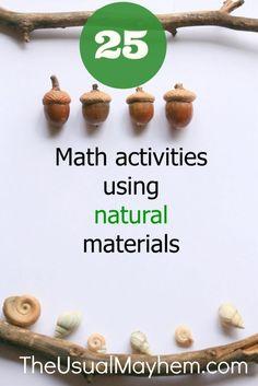 25 Math Activities Using Natural Materials - The Usual Mayhem Math Activities For Kids, Nature Activities, Math For Kids, Fun Math, Math Resources, Math Games, Math Help, Outdoor Activities, Reggio Emilia