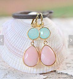 Peach and aqua earrings by Rustic Gem.