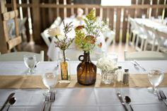 Like the use of old liquor bottles in this Vintage Style Barn Wedding: Ellie   Mathias