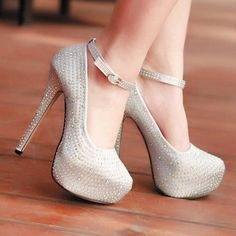 Fashion Stiletto Ankle Strap Diamante Pumps