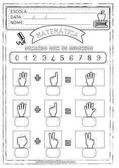Blog com atividades escolares. Voltado para mães e professoras. Abc Mouse, Math Addition, Preschool At Home, Homeschool Math, Homeschooling, Class Activities, Preschool Worksheets, Learning Centers, Teaching Math