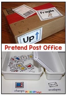 Turn your dramatic play center into a Post Office - the perfect theme for imaginary play in February! Preschool and kindergarten kids will enjoy the printables in this kit. Students can use printable stamps, stationery and labels to mail cards and packages to friends and family. #DramaticPlayCenters #Preschool #Kindergarten #PretendPostOffice #PrimaryDelight Dramatic Play Themes, Dramatic Play Centers, First Grade Classroom, Preschool Classroom, Art Lessons Elementary, Elementary Teaching, Kindergarten Centers, Play Centre, Preschool Printables
