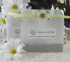 "Ideal for your garden party, or springtime wedding or shower, our Daisy Seed Favors arrive containing a generous amount of Shasta daisy seeds.  Your guests will be able to grow their own beautiful daisies, and will be reminded of the great time they had at your event!  The seeds come packaged in a classy square glassine envelope, embellished with yellow satin ribbon and a small paper daisy.  The completed favor is finished with a matching daisy-themed label reading ""Daisy Seed Mix"", ""Scatter…"