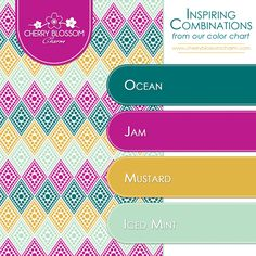 Color Combinations | Blue Green Mint Purple Mustard | Cherry Blossom Charm
