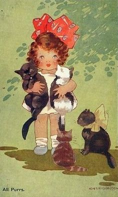 Agnes richardson cute little girl & lots of cats all purrs old postcard