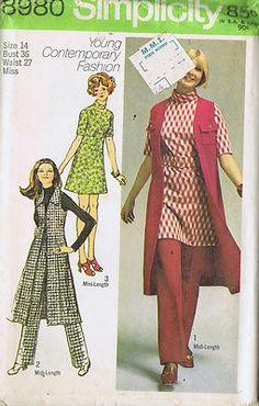 "SIZE 14 BUST 36 WAIST 27 HIP 38""    Simplicity Pattern  Pattern Number 8980  Copyright: 1970    Vintage 70's Misses Mini Dress Midi Vest Coat and Pants Patterns"