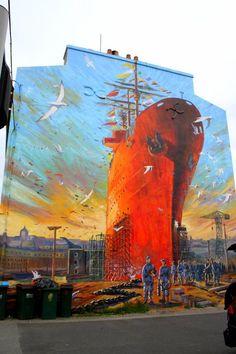 Urban mural of a huge ship