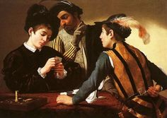 The Cardsharps is a painting by the Italian Baroque artist Michelangelo Merisi da Caravaggio. The original is generally agreed to be the work acquired by the Kimbell Art Museum in although Caravaggio may have painted more than one version. Baroque Painting, Baroque Art, Italian Baroque, Italian Painters, Italian Artist, Michelangelo Caravaggio, Oil On Canvas, Canvas Art, Painting Canvas