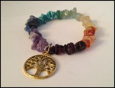 Seven Chakra Gemstone Chip & Gold Tree of Life Charm Bracelet, Chakras, Wicca, Wiccan Jewelry, Gemstone bracelet, Stretchy Bracelet by TracisJewelryShop, $14.00