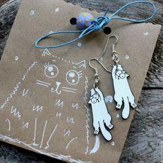 Купить серьги Коты черно-белые, ручная роспись - чёрно-белый, серьги ручной работы