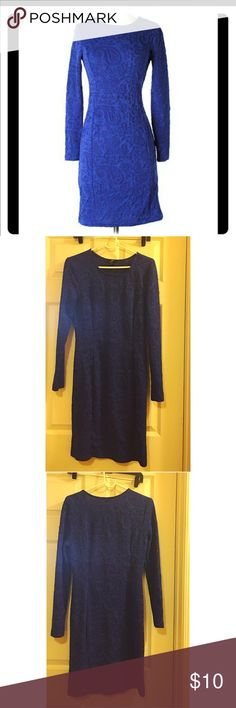 Blue dress Long sleeve, royal blue dress. The dress does stretch and is very comfortable. H&M Dresses Long Sleeve