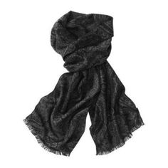 $98, Charcoal Silk Scarf: Tommy Bahama Silk Paisley Scarf. Sold by Tommy Bahama. Click for more info: https://lookastic.com/men/shop_items/98716/redirect