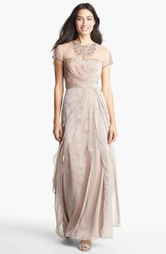 ADRIANNA PAPELL BLUE Embellished Yoke Tiered Chiffon Gown – Size 6