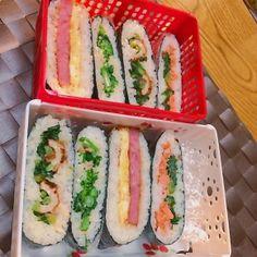 オヤジ・女子おにぎらず弁当 Japanese Sandwich, Japanese Food, Onigirazu, Adult Lunch Box, Balanced Diet Plan, Asian Cooking, Fresh Rolls, Sushi, Food Porn