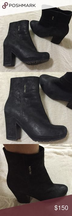 Beautiful PRADA chunky wedge booties! These are distressed black suede PRADA booties. They are comfortable for all day wear or day to night. Worn twice. Perfect for fall and winter weather! Purchased at SAKS at Phipps Atlanta. Unfortunately don't have the box for this one. Prada Shoes Ankle Boots & Booties