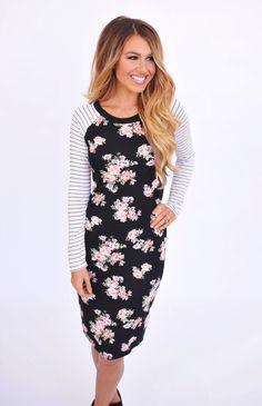 Floral Stripe Sleeve Dress - Dottie Couture Boutique