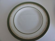 """Large Plate 10"""" Wedgwood & Co Ltd Green Gold Trim made in England"""