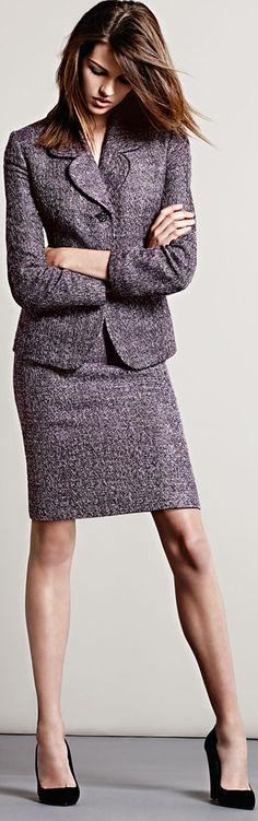 Albert Nipon Tweed Long-Sleeve Skirt Suit at Neiman Marcus Office Attire, Work Attire, Office Outfits, Office Wear, Grey Office, Work Outfits, Business Attire, Business Fashion, Business Casual