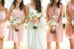 Cute light pink short bridesmaids dresses.  Photo by Josh McCullock Photography.  www.wedsociety.com  #wedding #bridesmaids