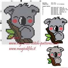 Koala cross stitch pattern