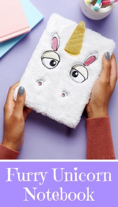 How amazing is this furry unicorn notebook! This is the perfect birthday gift for adults and kids alike. #unicorn #giftideas #giftsforher #affiliate