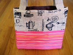 Medium Tote Bag - Novelty Rustic Coffee Burlap, Orange, Pink, Lavender Stripes Cotton Housewarming, Beach, Birthday, Halloween - Made In USA ~ Available on www.maliakeibags.com