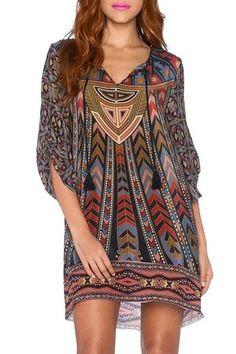 Women's Stylish 3/4 Sleeve Lace-Up Ethnic Print V-Neck Dress
