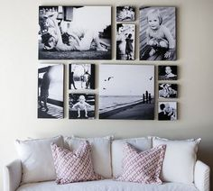 LOVE this arrangement of pictures!! Also would make a great head board for a bed that doesn't have one.