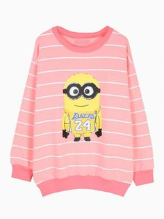Despicable Me Minions Print Sweatshirt In Pink Stripe