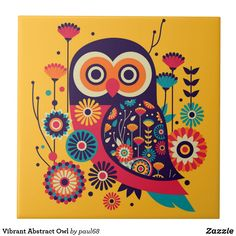Shop Vibrant Abstract Owl Ceramic Tile created by Personalize it with photos & text or purchase as is! Madhubani Art, Madhubani Painting, Owl Art, Bird Art, Indian Art Paintings, Owl Paintings, Owl Illustration, Scandinavian Folk Art, Indian Folk Art