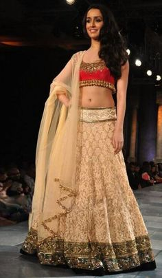 #BollywoodReplicas - Beige Embroidered Lehenga Choli Worn By Shraddha Kapoor (Bollywood Replica) Costs Rs. 8,000 #Apparels BUY it here: http://www.artisangilt.com/apparels-bags/women-apparels/lehenga-choli-sets/beige-embroidered-lehenga-choli-worn-by-shraddha-kapoor-bollywood-replica.html?ref=pin