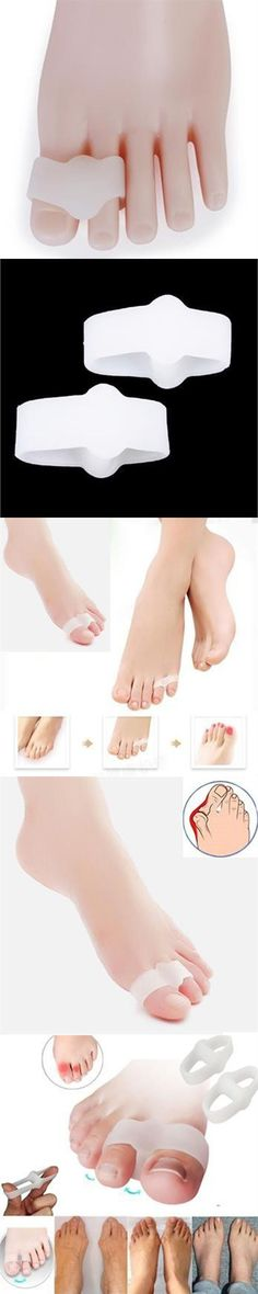 1Pair 2 Hole Feet Foot Care Tool Silicone Gel Toe Straighteners Separator Hallux Valgus Bunion Corrector Pain Relief H0034