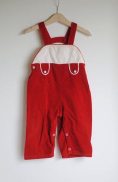 Vintage 1950's Toddler Boy or Girl Overalls  Red by hartandsew, $16.00