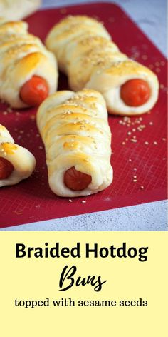 Soft and tasty buns braided around juicy hotdogs then topped with sesame seeds, these Braided Hotdog Buns are filling and addictive! Fun Baking Recipes, Pastry Recipes, Lunch Recipes, Healthy Recipes, Bread Recipes, Savoury Recipes, Drink Recipes, Good Food, Yummy Food