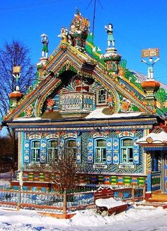 """Gingerbread House"" built by Sergey Kirillov in the Russian village of Kunar. #MostBeautifulArchitecture #AmazingHouses:"