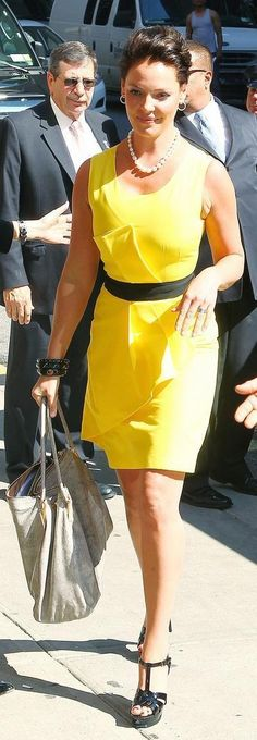 Who made Katherine Heigl's yellow dress and black shoes that she wore at the Ed Sullivan Theater for the Late Show With David Letterman? Dress – Jenni Kayne  Shoes – Yves Saint Laurent