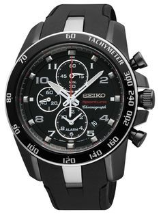 Seiko Sportura Black Dial Black Steel Black Rubber Chronograph Mens Watch SNAE89