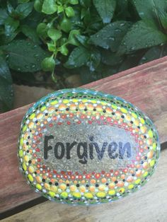 Forgiven. One single word that speaks so loudly. I painted this rock to remind myself of the awesome gift God had given me. The rock is about 4x5 and is painted in a dot pattern. Available is several