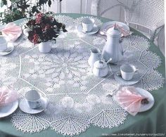 Discussion on LiveInternet - Russian Online Diaries Service Crochet Tablecloth Pattern, Crochet Patterns, Crochet Dollies, Crochet Lace, Knit Art, Crochet Table Runner, Knitting Magazine, Table Centers, Crochet Diagram