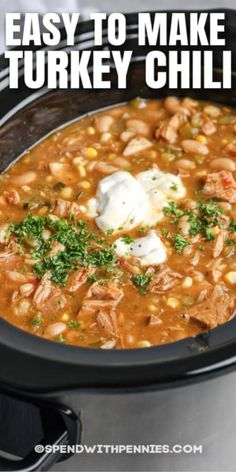 White Turkey Chili is a hearty, healthy twist on a classic dish. The whole family will love this served with fresh buns and a side salad!  #spendwithpennies #whiteturkeychili #recipe #maindish #healthy #easy Slow Cooker Chili, Slow Cooker Recipes, Crockpot Recipes, Cincinnati Chili, Healthy Dishes, Healthy Recipes, Meal Recipes, Recipies, Healthy Eating