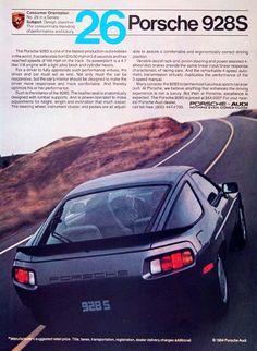 1984 Porsche 928 S original vintage advertisement. Photographed in bright color. Original MSRP started at $44,000.