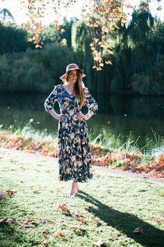 Boho Bohemian Dress nursing floral stretchy maxi long sleeve modest  blue australia perth sunshine coast hyde park