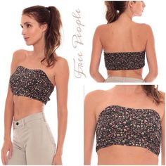 Free People Floral Print Bandeau Pretty Blue Combo Cotton Tube Top features a smocked stretchy back and a sweetheart neckline..color is much lighter than shown, will post more pics Free People Tops
