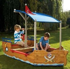 Buy Now at Little Guys and Cutie-Pies   Our Pirate Ship Sandpit with pirate insprired artwork and features will keep your little pirates entertained for hours. Includes a canopy to keep your kids out of the sun.