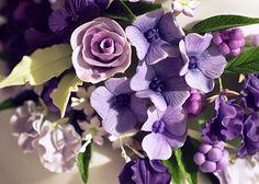 Bluebird Rose, Sweet Peas, Jasmine, Berries & Hydrangea Sugar Flowers in Shades of Purple & Lavender