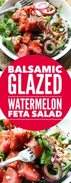 Balsamic Watermelon Feta Salad – Layers of Happiness - aliments sains Clean Eating, Healthy Eating, Vegetarian Recipes, Cooking Recipes, Healthy Recipes, Keto Recipes, Healthy Snacks, Watermelon Recipes, Sweet Watermelon
