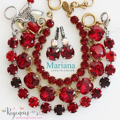 Sexy red Swarovski crystal bracelets from Mariana & Catherine Popesco!  Available at: https://www.regencies.com/collections/mariana-jewelry